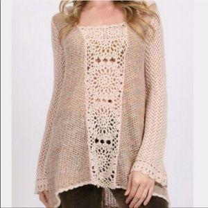 Free People Merci Pullover Hooded Crochet Sweater